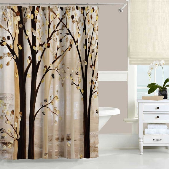 Trees Shower Curtain Forest Bath Curtain Brown Beige Gray