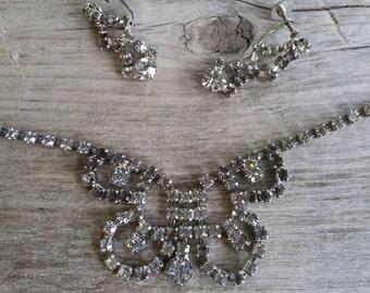 Rhinestone Smart Set by Coro-Coro Demi Parure-Coro Rhinestone Earrings-Coro Necklace-Vintage Coro-Vintage Screw Back-Free Shipping