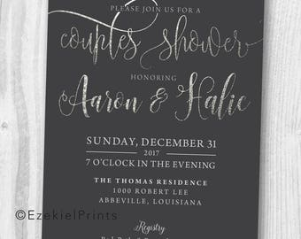 Silver Shimmer Couples Shower Invitation { Charcoal Gray } { Silver } { Shine }