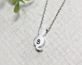 Personalized initial cat necklace, initial jewelry, best friend necklace, friendship