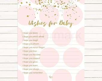 Pink and Gold Wishes for Baby Card, Pink Gold Confetti Wishes for Baby Card, 901 Instant Download PDF Printable 203