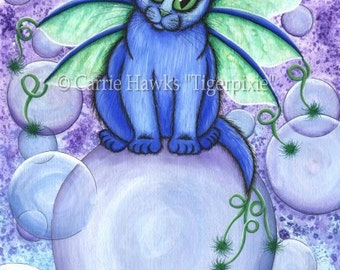 Bubble Fairy Cat Art Blue Cat Big Eye Art Fantasy Cat Art ACEO / ATC Mini Print Cat Lover Gift