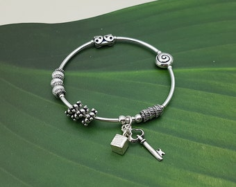 925 Sterling Silver Ethnic Key and Cube bracelet, Stretch Bracelet, Women's bracelet