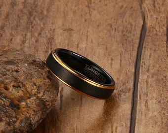 5MM Black and Gold-Color Tungsten Wedding Ring for Men and Women Jewelry