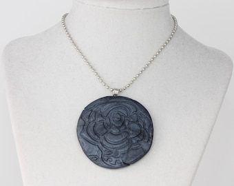 Navy Polymer Clay Pendant Necklace; Flower Necklace; Stamped Clay Pendant; Statement Necklace; Polymer Clay Jewelry; Gift For Her