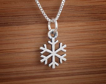 STERLING SILVER Snowflake Snow Charm or Earrings - Chain Optional