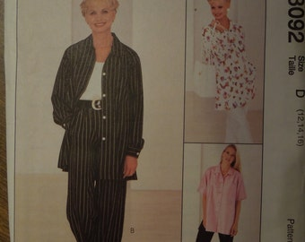 McCalls 8092, petite-able, misses, womens, UNCUT sewing pattern, craft supplies, shirt, pull-on pants