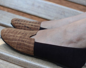 Brown Handcrafted Vegan Slip-On Shoes
