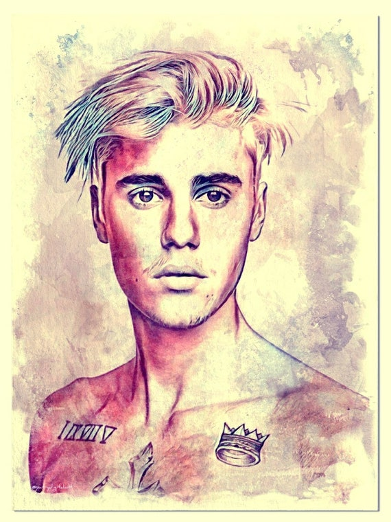 Justin Bieber Watercolor Painting Art Print