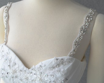 Detachable Silver Rhinestone Crystal and Pearl Straps to Add to your Wedding Dress