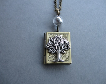 Tree of Life Necklace, Brass Book Necklace, Book Lover's Gift, Antique Book Pendant