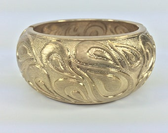 """Paisley Gold Cuff Bracelet// Matte Gold Finish // Tarnish Resistant // Fits 7"""" to 8"""" Wrist // Hinged // Ask About Wholesale"""