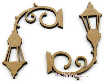 Wood set of 2 wall lanterns to decorate scrapbooking card making (ref.710) *.