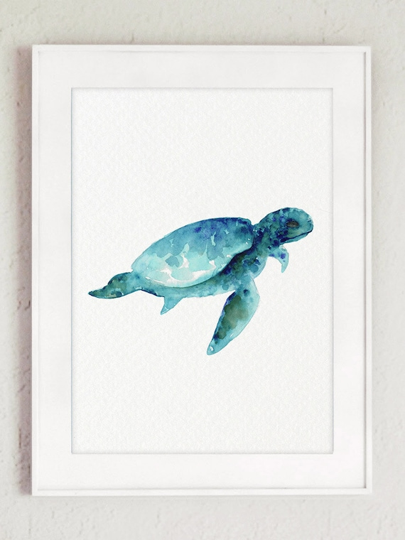 Genial Sea Turtle Wall Art Print, Giclee Watercolour Painting, Turquoise Ocean  Illustration Blue Home Decor, Abstract Sea Animals Nursery Wall Art