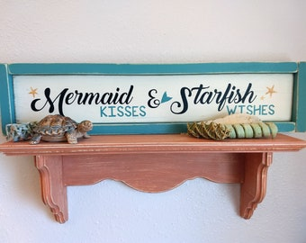 Hand Painted Wood Beach Sign Mermaid Kisses & Starfish Wishes
