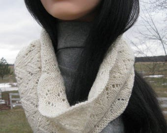 Knit Cowl, Infinity Scarf, White Suri Alpaca Cowl for Woman, Circle, Loop Scarf, Great Valentine's Gift