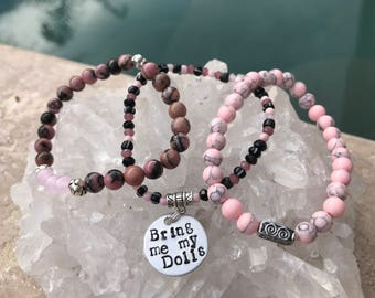 Bring Me My Dolls, Valley of the Dolls, set of 3 Stacking Bracelets, Rhodonite and Pink Howlite