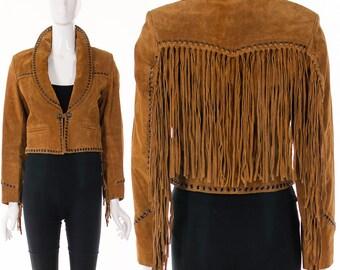 Sienna Fringe Suede Leather Cropped Jacket Festival Fringe Leather Jacket Rock star Grommet Jacket Bohemian Chic Jacket Boho Hippie Jacket S