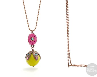 olivine and pink necklace, colorful necklace, ethnic chic colors