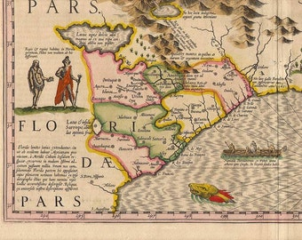 hondius southeas 7 antique world maps old world map illustration digital image ancient