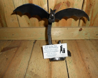 Winged Dragon Business cardholder hand forged by blacksmith in the heart of the Missouri Ozarks