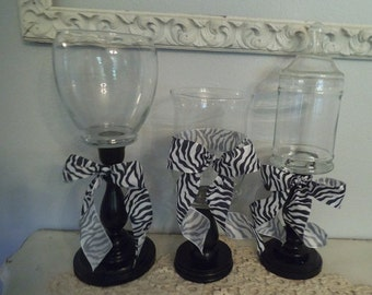 3 upcycled Black white Candy buffet  pedestal dishes   ... Wedding candy bar Party removeable  zebra ribbon