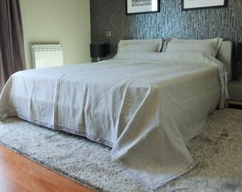 Linen bed cover, Linen summer blanket, Linen throw coverlet, Linen bedspread, Flax, Grey, Easter gift