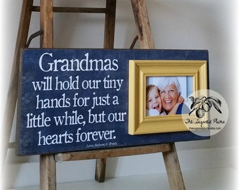 Grandma Grandpa Grandparents Gift Personalized Picture Frame Grandmas Will Hold Our Tiny Hands 8x20 The Sugared Plums