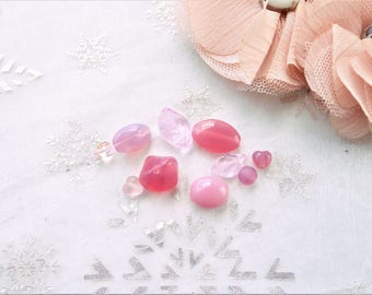 Pearl glass bead Czech glass, pink glass bead, glass bead set