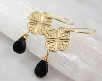 Exotic Stamped Gold and Black Spinel Earrings