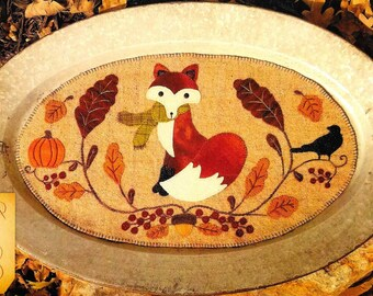 Wool Applique Pattern, The Fall Guy, Table Mat, Autumn Decor, Farmhouse, Primitive Decor, Fall Wool Mat, Sew Cherished, PATTERN ONLY