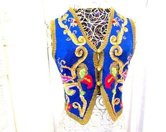 Vintage womans vest, Cotton knit vest, Berek womans Vest, 80s knit vest,  heart knit vest, boho knit vest, blue knit vest,