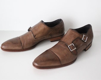 Vintage Brown 100% Real Leather MAGNANNI Buckle Smart Office Work Casual  Men's Shoes Size UK7 EU41