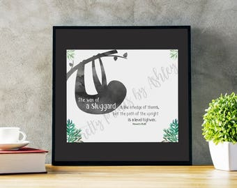 Proverbs 15:19, Print, watercolor, sloth, boy nursery art, bible verse print