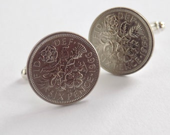 Sixpence Cufflinks 1966, Father of the Groom Gift, Will you be my Best Man, Usher Cufflinks, Groom Gift from Bride, 52nd Birthday Gift