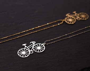 CLEARANCE silver bicycle necklace