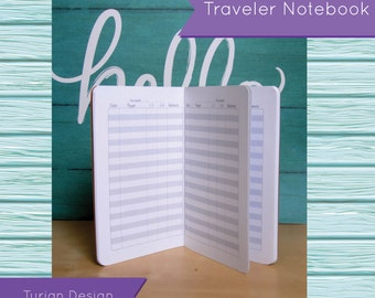 Pocket Size Expense/Transaction Register Book for Traveler's Notebook, Yearly, Monthly Planning