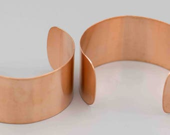 2 Solid Copper Wide Cuff Blanks 22 Gauge 1x2 inches
