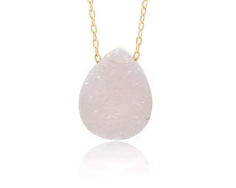 Drusy Quartz and Gold Chain Necklace - Delicate 14k Gold Filled Chain - Pear Shaped Drusy/Druzy Gemstone Drop - 18in. Necklace