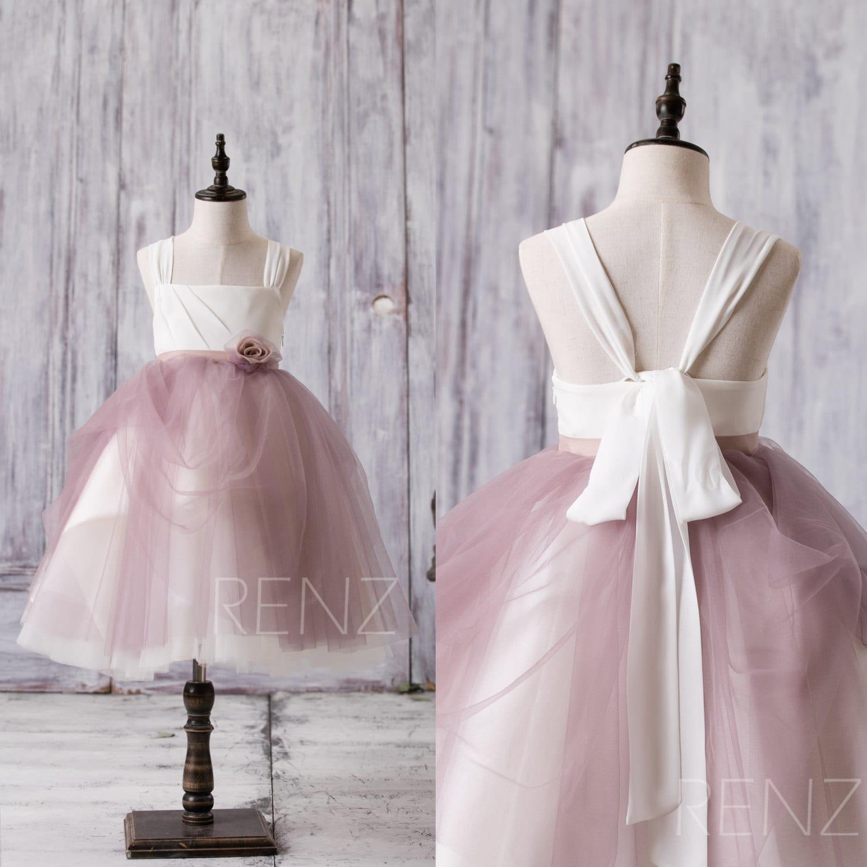 Off white dark mauve junior bridesmaid dress square tulle zoom ombrellifo Image collections