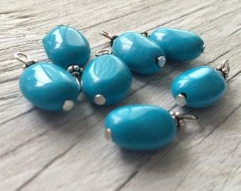 Beaded gemstone charms- Howlite gemstone beaded dangles