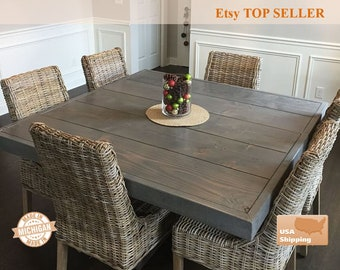 Farm House Table, Farm Table, Pedestal Table, Dine Table, Square Dining Farm Table, , Dining Table, Furniture, Pedestal, Farmhouse Table