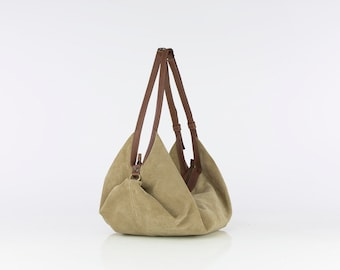 Suede leather bag - Soft leather bag - Slouchy leather bag - Shoulder bag - Leather Handbag -  DeLuna