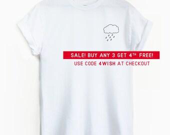 Cute Rain cloud Pocket shirt - Cute shirt, cute graphic tee, pocket tee, cute graphic tee, rain, raincloud, emo, sad shirt, hipster, cloud