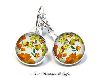 925 Sterling Silver: Stud Earrings with glass cabochons * flowers * (090218.3) 3 sizes