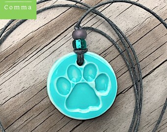 Ceramic paw print pendant Paw print necklace Paw print jewelry Pet lover gift Dog lover gift Glazed turquoise Porcelain paw print charm