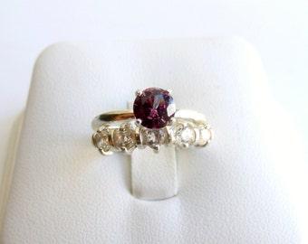 Wedding Ring Set Alexandrite White Topaz Sterling Silver June Birthstone Made To Order