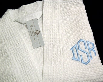 Personalized Robe, Monogram Robe, Cotton Spa Robe, Cotton Anniversary Robe, jfyBride