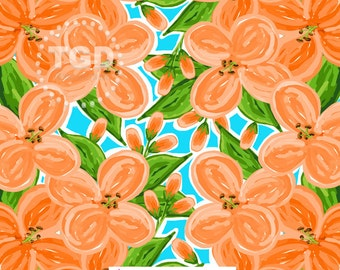 Preppy Orange floral digital paper - floral digital paper, preppy digital paper, tropical digital paper, preppy prints, watercolor flowers