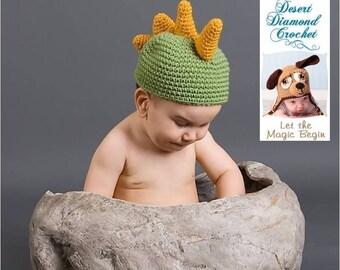 Crochet Pattern 004 - Dinosaur Beanie Hat- Infant to Adults